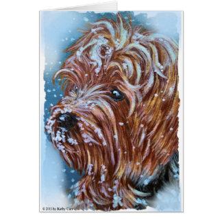 Cartão Arte do yorkshire terrier do inverno
