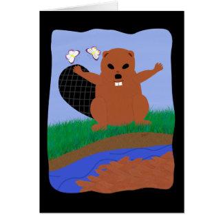 Cartão Arte dos desenhos animados da represa da