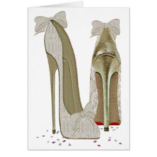 Cartão Arte dos saltos altos do casamento