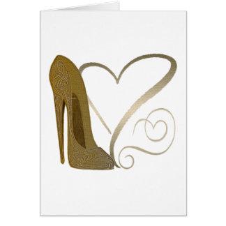Cartão Arte e corações dos calçados do estilete do