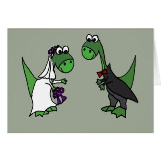 Cartão Arte engraçada do casamento do Brontosaurus