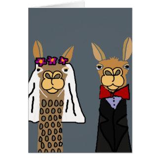 Cartão Arte engraçada do casamento dos noivos do lama