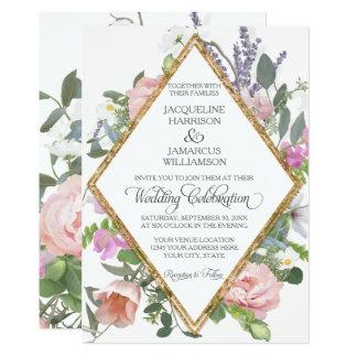 Cartão Arte floral pintada romântica do brilho