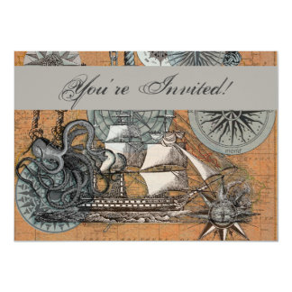 Cartão Arte náutica do navio do polvo do vintage do rosa
