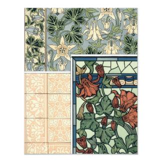 Cartão Arte Nouveau do vintage, flores aquilégias de