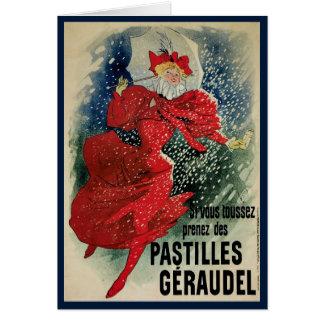 Cartão Arte Nouveau do vintage, mulher do Victorian na
