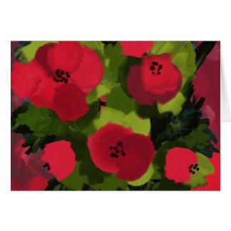 Cartão Arte pintada da flora das papoilas  