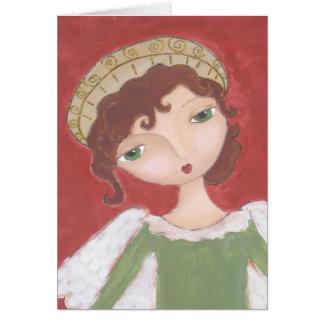 Cartão Arte popular do anjo do Natal