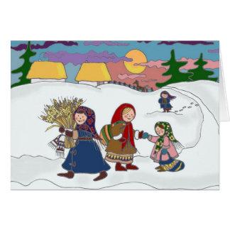 Cartão Arte popular ucraniana Home de passeio