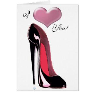 Cartão Arte preta dos calçados do estilete