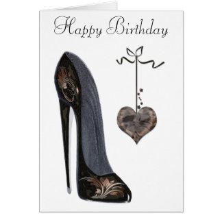 Cartão Arte preta dos calçados e do coração do estilete