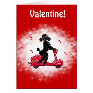 Cartão Arte preta dos namorados da caniche e do patinete