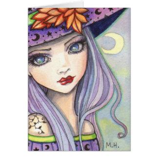 Cartão Arte roxa da fantasia da bruxa