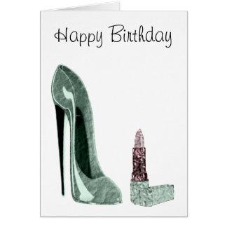 Cartão Arte verde dos calçados e do batom do estilete