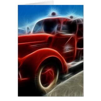 Cartão Arte vermelha antiga brilhante bonita do carro de