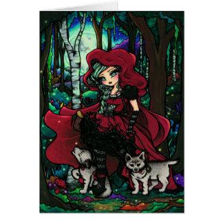 Cartão Arte vermelha da fantasia do conto de fadas da