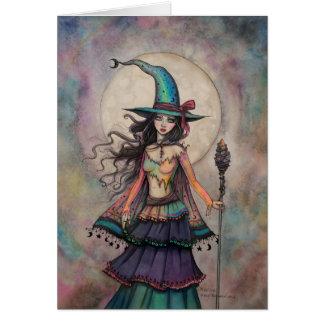 Cartão Arte Wiccan da fantasia do Dia das Bruxas da bruxa