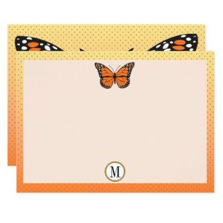 Cartão Artigos de papelaria alaranjados do monograma da