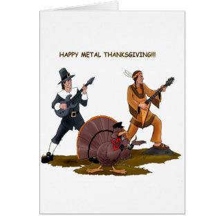 Cartão Artigos do presente da acção de graças do metal