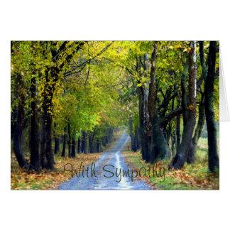 Cartão Árvore-Alinhado dos pêsames da estrada do