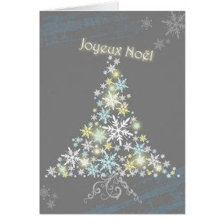 Cartão Árvore chamativo Joyeux Noel do floco de neve do