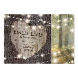 Cartão Árvore cinzelada do coração que Wedding RSVP
