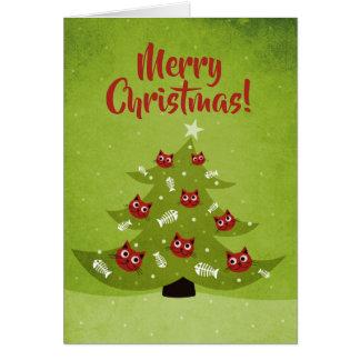 Cartão Árvore com Feliz Natal dos ornamento do gato e dos