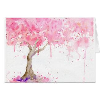 Cartão Árvore cor-de-rosa abstrata da aguarela, árvore de