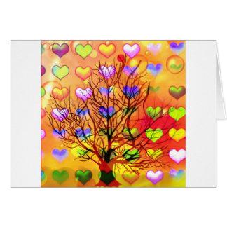 Cartão Árvore da alegria com lareira múltipla