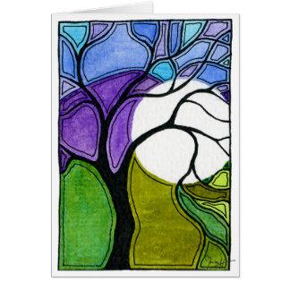 Cartão Árvore da caneta e da tinta da aguarela