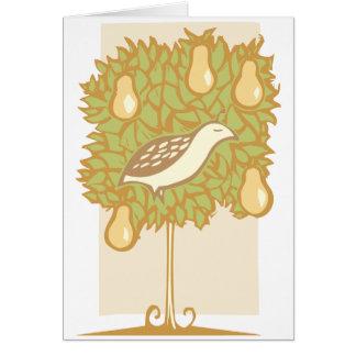 Cartão Árvore da perdiz e de pera