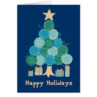 Cartão Árvore de confecção de malhas do feriado do Natal