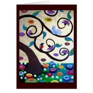 Cartão Árvore de Klimt com pássaros