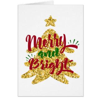 Cartão Árvore de Natal alegre e brilhante do brilho do