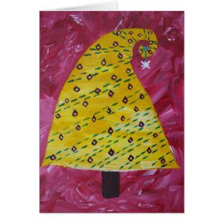 Cartão Árvore de Natal amarela lunática customizável
