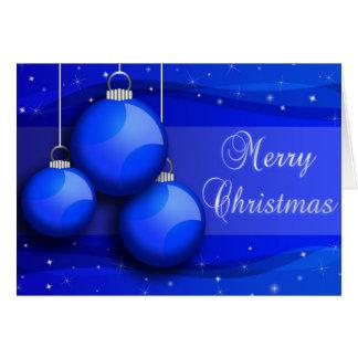Cartão Árvore de Natal azul dos Baubles