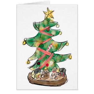 Cartão Árvore de Natal com brinquedos