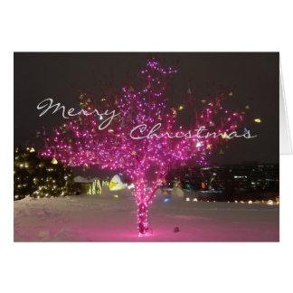 Cartão Árvore de Natal cor-de-rosa