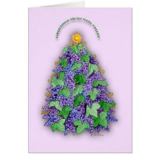 Cartão Árvore de Natal das uvas de Napa Valley
