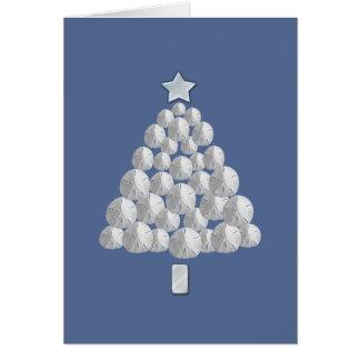 Cartão Árvore de Natal do dólar de areia (azul)