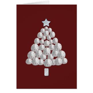 Cartão Árvore de Natal do dólar de areia (vermelha)