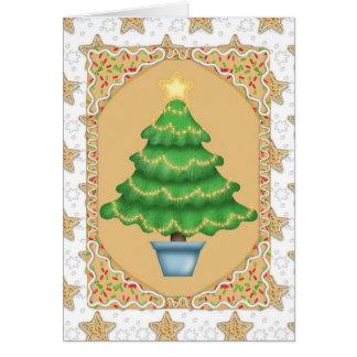 Cartão Árvore de Natal do pão-de-espécie