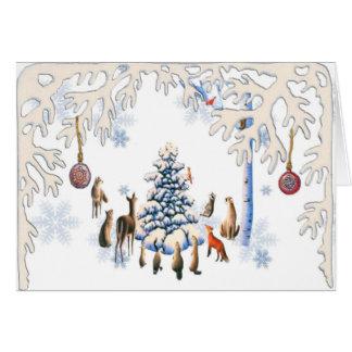 Cartão Árvore de Natal dos animais