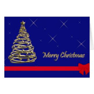 Cartão Árvore de Natal dourada
