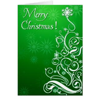 Cartão Árvore de Natal encaracolado de Swirly