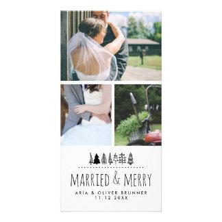 Cartão Árvore de Natal lunática casada & alegre | três