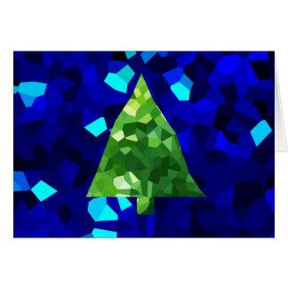 Cartão Árvore de Natal moderna azul do feriado do vitral