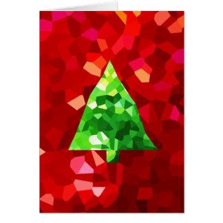 Cartão Árvore de Natal moderna vermelha do feriado do