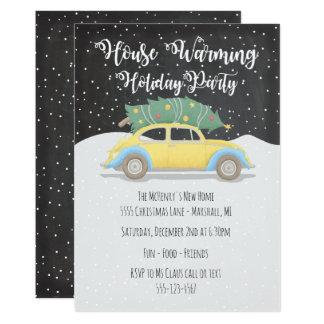 Cartão Árvore de Natal na festa natalícia de aquecimento