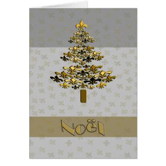 Cartão Árvore de Natal Noel da flor de lis do ouro